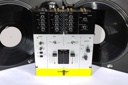 Professional audio equipment usefull for top-class hip-hop DJ shot on white background Stock Photo - 8890296