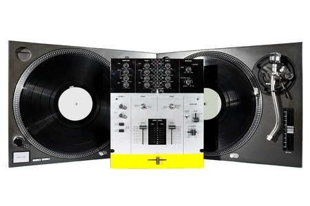 Audio equipment usefull for top-class hip-hop DJ shot on white background