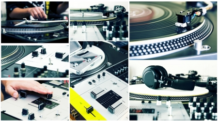 Seven photos that picture high-class turntable record players, headphones, mixing controller Stock Photo