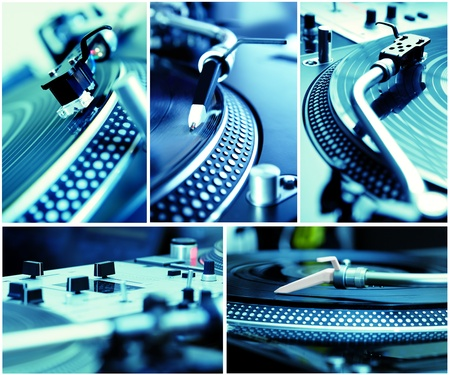 Five pictures of professional equipment for a hip-hop dj toned in blue color photo