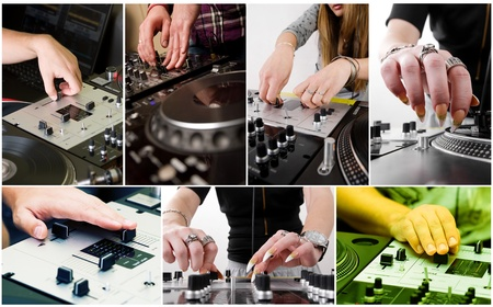 crossfader: Macro photos containing male and female Djz playing music on vinyl and cd players