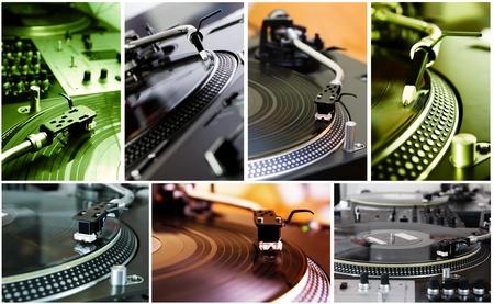 giradisco: Sette foto con attrezzature professionali DJ hip-hop Archivio Fotografico