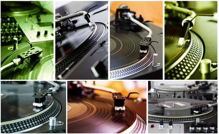 Seven photos with equipment of professional hip-hop djs photo