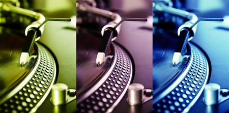 Tirple collage of turntables plaing vinyl records with music in different colors