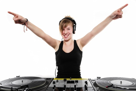 Attractive late teen chick playing music from vinyl Stock Photo