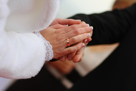 Closeup wedding photos of groom and bride photo