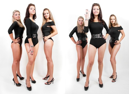 Two shots of three young hot women wearing sey bodysuits and heels photo