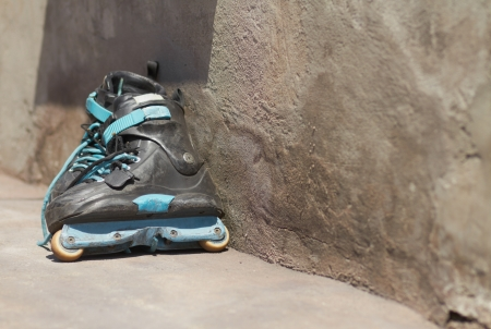 Pair of used professional aggressive inline skates photo