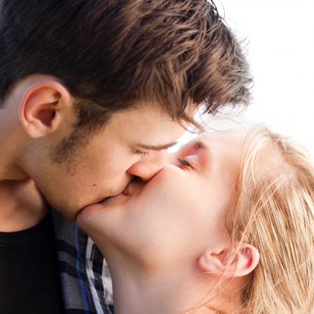 kissing lips: The sweetest kiss you can imagine Stock Photo
