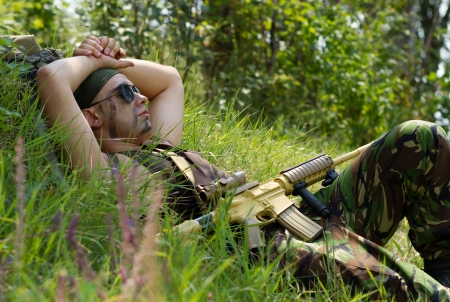 It is time to take a rest after hard dangerous day Stock Photo - 15380216