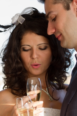 Happy young couple drinking their wedding champagne Stock Photo - 15980708