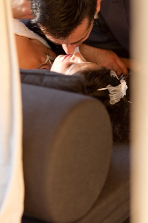 sweetest: The sweetest wedding kiss ever Stock Photo