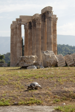 The Temple of Olympian Zeus, also known as the Olympieion or Columns of the Olympian Zeus, is a colossal ruined temple in the centre of the Greek capital Athens that was dedicated to Zeus, king of the Olympian gods  One of the Symbols of Athens and Greek  photo