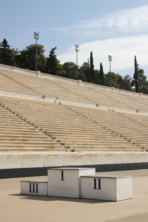 ancient olympic games: The Panathenaic Stadium or Panathinaiko also known as the Kallimarmaro, meaning the  beautifully marbled  , is an athletic stadium in Athens that hosted the first modern Olympic Games in 1896  Reconstructed from the remains of an ancient Greek stadium, th