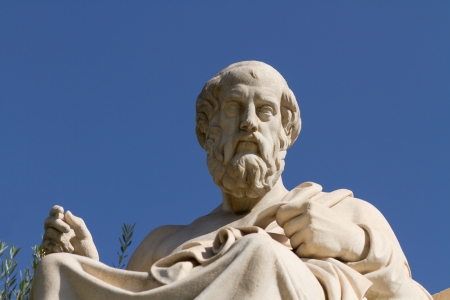 Plato, Greek philosopher  A disciple of Socrates and the teacher of Aristotle, he founded the Academy in Athens  This is his statue, located before the Academy of Athens, Greece