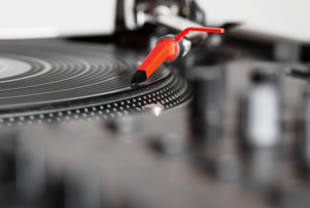 Professional audio equipment for a DJ - turntable playing record with music Stock Photo