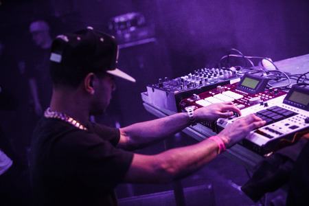 producer: Famous hip-hop producer Abraham Orellana aka Araabmuzik playing live concert in Moscow, Russia on 7 March 2015