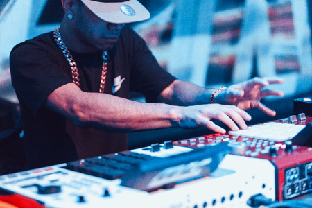 dubstep: Famous hip-hop producer Abraham Orellana aka Araabmuzik playing live concert in Moscow, Russia on 7 March 2015