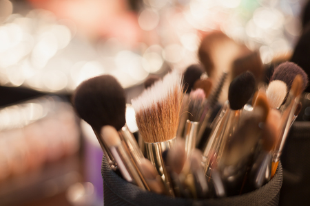 Complete set of professional brushes of any size for visage. Stock Photo