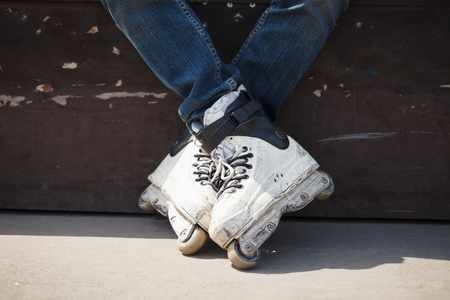rollerskater: rollerskater wearing professional extreme inline skates Stock Photo