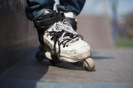 rollerskater: rollerskater wearing professional extreme inline roller skate