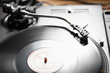 Turntable vinyl record player, analog sound technology for DJ playing analog and digital music.