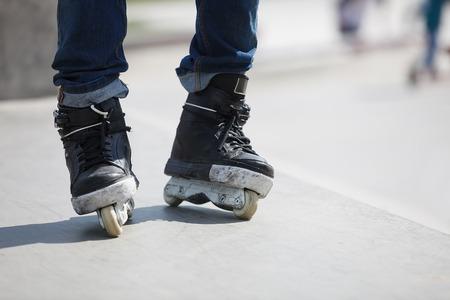 rollerskater: Aggressive inline skates on rollerskater feet.