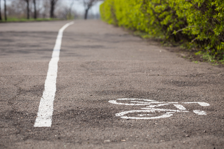 straight line: White bike symbol and straight line drawn on the ground to show the direction of cyclists.
