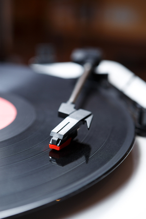Reto hipster music player.Vintage electronic device for listening vinyl records Stock Photo