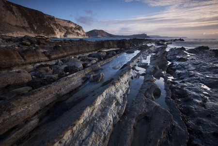 mupe bay: Mupe Bay Sunrise, Dorset, UK Stock Photo