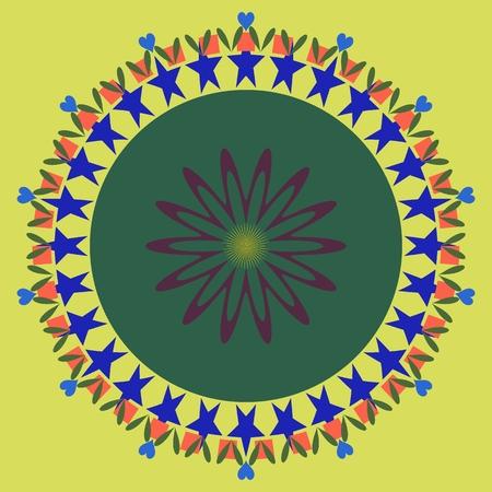 heart chakra red: Mandala ornament abstract circle background
