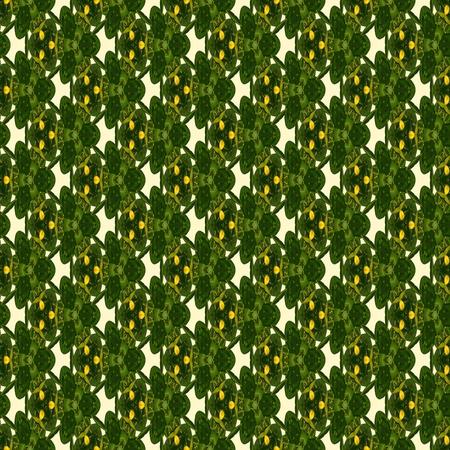 generative: Floral kaleidoscope mosaic mandarin tree seamless texture or background