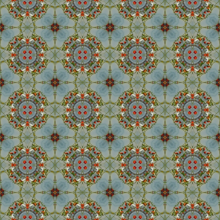 art materials: Kaleidoscope mosaic rose hip seamless texture or background