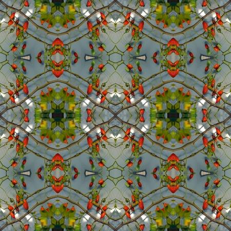 generative: Kaleidoscope mosaic rose hip seamless texture or background