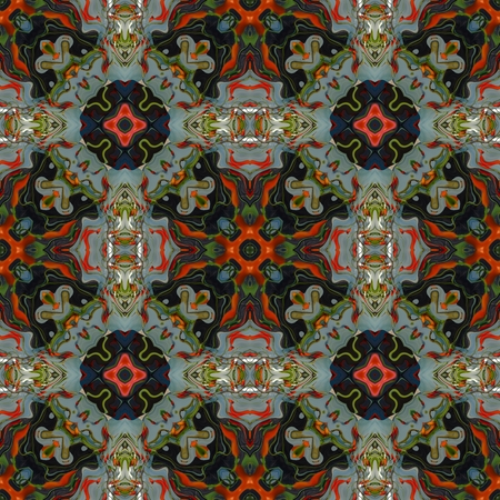 glass ornament: Floral Kaleidoscopic mosaic seamless texture or background Stock Photo