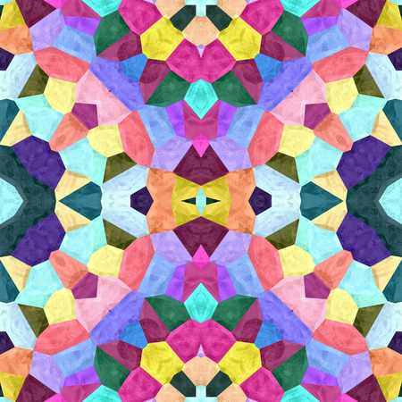 Floral Kaleidoscopic mosaic seamless texture or background Stock Photo