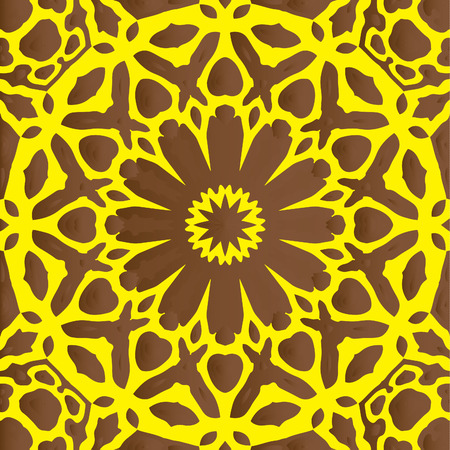 Floral Kaleidoscopic mosaic seamless texture or background Illustration