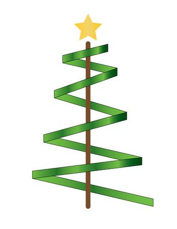 green ribbon: Simply christmas green ribbon tree with gold star Illustration