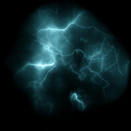 lightning storm: Set of silhouettes of thunderstorm lightning background