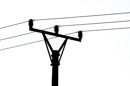 telephone pole: Black Silhouette of Power Line isolated white background