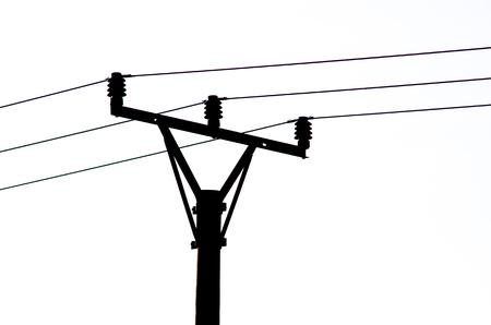 Zwart Silhouet van Power Line geïsoleerde witte achtergrond