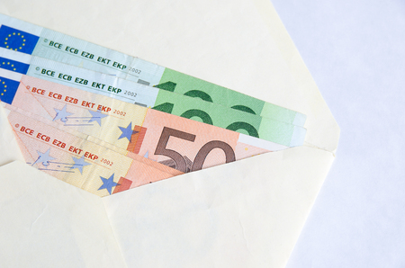 stylized banking: Stack of Euro banknotes in envelope