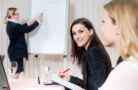 group communication: business people in group communication Stock Photo