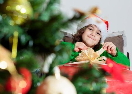 children with Christmas presents Reklamní fotografie