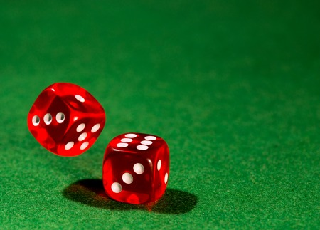 rolling dice: dice for gambling Stock Photo