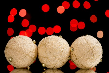 golden globe: red light from light, golden globe as New Years and Christmas decoration Stock Photo