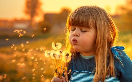 little girl with dandelions Reklamní fotografie