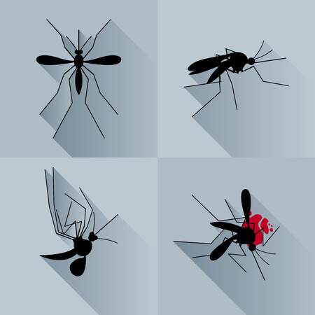 Vector Long Shadow Silhouette Dead Mosquito Set
