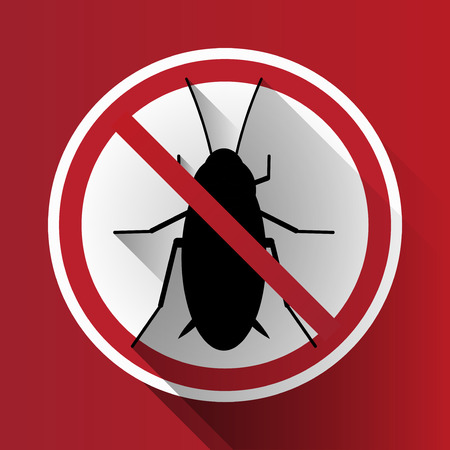 cockroach: Vector Long Shadow Prohibited Silhouette Cockroach Sign