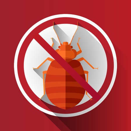 Vector Long Shadow Flat Bed Bug Sign